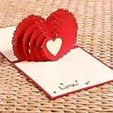 Carte anniversaire rouge coeur amour amoureux Couple Ami- Noël Nouvel An Saint Valentin Origami 3d papier