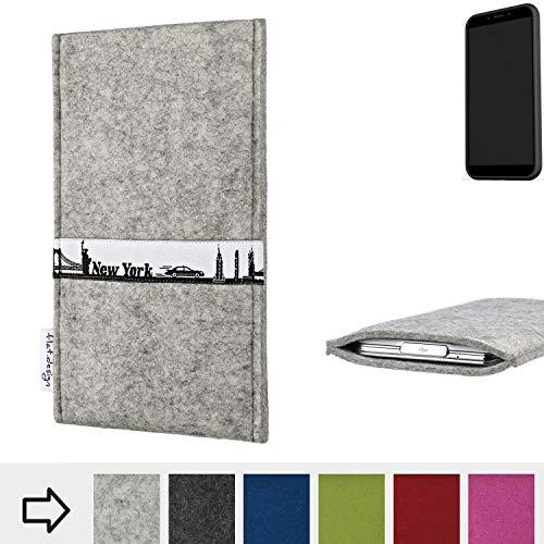 flat.design für Shift Shift6mq Schutzhülle Handytasche Skyline mit Webband New York - Maßanfertigung der Schutz Tasche Handycase aus 100% Wollfilz (hellgrau) für Shift Shift6mq