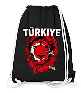 Turnbeutel EM WM Türkei Turkey Türkiye Löwe Flagge Lion Flag Fußball MoonWorks® Fan Gym Bag schwarz unisize