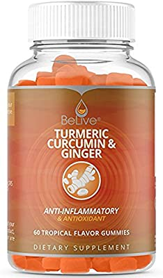 Turmeric Curcumin & Ginger Gummies for Anti Inflammatory, Joint Pain Relief, Antioxidants. Vegetarian Friendly, 100% Natural, Kosher & Halal Certified 60 Count from BeLive
