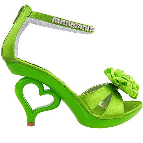 Mostra Story 20 colori dei fiori removibile cinturino alla caviglia sposa sandali scarpe da sposa, SM33101 Verde