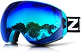 ZIONOR Lagopus X7 Ski Goggles with Fast Lens-changing UV400 Protection Anti-fog Wide Spherical PC Lens Anti-slip Strap Helmet Compatible, Adult Ski Snowboarding Skating Goggles