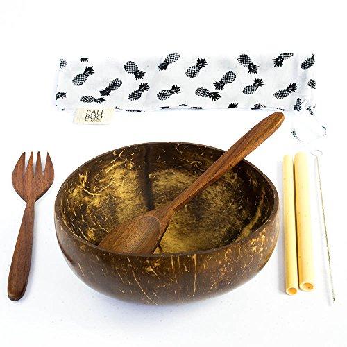 1 Boles de Coco | Cuencos Naturales | Incluye 1 Juegos de cubertería Reutilizables …