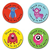 40mm Monster *Thank You For Coming To My Party* Round Stickers for Party Bags & Sweet Cones (48 x Stickers)