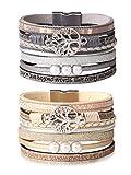 sailimue Arbre Vie Bracelet Cuir pour Femmes Fille Bracelet Tissé Bracelets Perlés Vintage