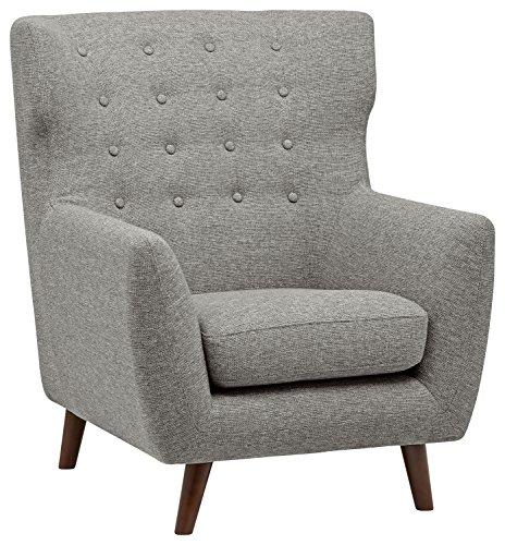 Amazon Marke -Rivet Hawthorne Moderner, getufteter Akzent-Sessel im Stil der 1950er Jahre, Silber