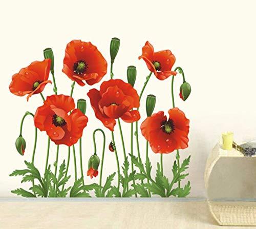 Runinstickers Wandaufkleber Mode Roter Mohn Blume Aufkleber Schlafzimmer Dekor Wand Aufkleber Home Art PVC-Abnehmbare Wallpaper (Mohn Küche Dekor)