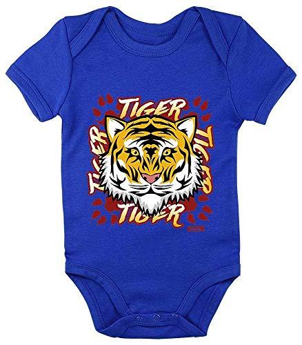 König Kostüm Dschungel Baby - HARIZ Baby Body Kurzarm Tiger Schrift Süß Tiere Dschungel Plus Geschenkkarte Royal Königs Blau 12-18 Monate
