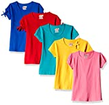 Sini Mini Girls Cotton T-Shirt (Pack of 5) (SM30011121451 M_Multi-Coloured_4-5 Years)
