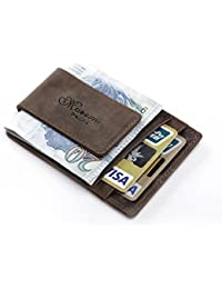 Teemzone Genuine Leather Money Clip Front Pocket Wallet with Magnet Clip and Card Id Case (coffee)