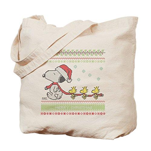 CafePress Snoopy Ugly Christmas Tote Bag, canvas, khaki, M