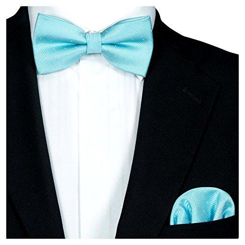 set, Festliche Tuerkise Herren-Fliege Silber Gepunktet, Hochzeitsfliege Anzug-Schleife Vor-Gebunden Ein-Stecktuch Vorgefaltet ()