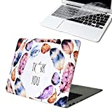SOUNDMAE MacBook 15 Retina Pro Case, [Grateful You Design] Frosted Plastic Hard Shell Skin Smooth Touch Case & Keyboard Cover for MacBook Retina Display 15.4 Model A1398, Thank