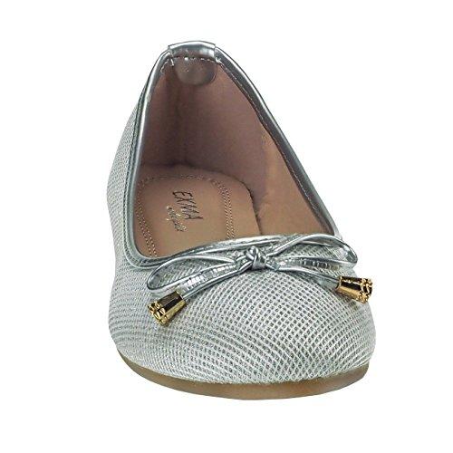 20018 Fashion4Young Klassische Damen Ballerinas Damenschuhe Textil Sommerschuhe m. Schleife Silber