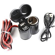 Idealeben Mechero de Moto Impermeable Adaptador del Coche Multifuncional del USB Carga para Móvil Cargador Universal (Negro)