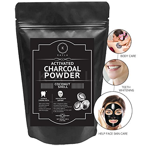 Teeth whitening, clean pores - Kayla Activated Charcoal Powder - Raw Organic Coconut Shell - Amazing Teeth Whitener, Healing Skin and Face & body Mask (200 g)