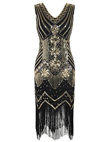 (kayamiya Damen 1920er Pailletten Perlen Floral Verschönerte Fransen Gatsby Flapper Kleid S Gold)