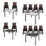 ESTEXO Gartentisch-Set Alu WPC 90x90 2/4 Stühle Polyrattan Gartenklappstühle (Tisch inkl. 4 Stühlen, Beige/Grau)