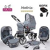 Chilly Kids Matrix II 4 in 1 carrozzina passeggino combinato (seggiolino per auto, base ISOFIX, parapioggia, zanzariera, ruote girevoli, 62 colori) 60 grafite & leopardo