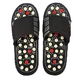 Zapatillas Masaje Pie con 41 puntos,zapatos de masaje de magnetoterapia Tai Chi girables 180 ° para reducir el dolor de pies para hombres y mujeres(Blanco/42-43)