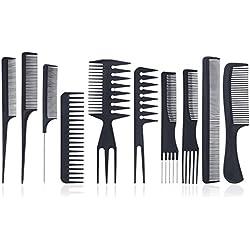 Set de Peines – Meersee Set de 10 Peines Profesionales Salón de Peine Antiestática Peluquería Barberos Peines