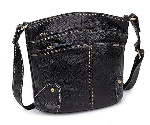 kormei Women Genuine Cowhide Leather Multi Fermeture Éclair Small Purse Cross Body Shoulder Bag - noir - noir, M