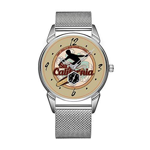 Mode Herrenuhr silbrig Edelstahl wasserdicht Uhr Herren Top-Marke Herrenuhr Uhr Surf California Vintage Surfboard Logo Uhr
