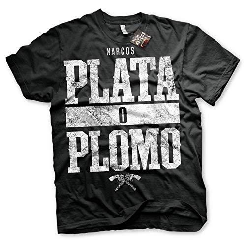 Narcos Camiseta Plata o Plomo da la Serie Netflix T-Shirt - 100% Oficial (X-Large)