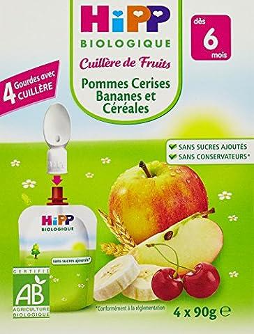Hipp Biologique Cuillère de Fruits Pommes Cerises Bananes et Céréales dès 6 mois - 24 gourdes de 90 g