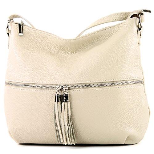 modamoda de - ital. Ledertasche Damentasche Umhängetasche Tasche Schultertasche Leder T159, Präzise Farbe:Cremebeige