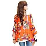 OUKIN Women Bohemian Floral Batwing Sleeve Plus Sheer Chiffon Oversize Loose Off Shoulder Blouse Tunic Tops