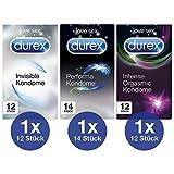 Kondom Premium-Mix 3er Set für intensives Empfinden und aufregende Vielfalt zu zweit Durex 38 Stück