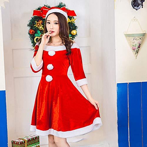 Party Tanz Kostüm Christmas - Yunfeng weihnachtsmann kostüm Damen Adult Christmas Party Tanz Anzug Bühne DS Nachtclub Leistung Kleid, Kleid Weihnachten Rock Kostüm Erwachsene Weihnachtsfeier Cosplay Kostüm