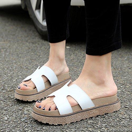 Confortevole Donne nelle pantofole high-heeled pattini di cuoio di trasporto Pattini freddi esterni femminili di modo di estate (formato facoltativo) (2 colori opzionali) È aumentato ( Colore : B , di B