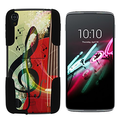 turtlearmor | Alcatel OneTouch Idol 3 Fall (14 cm) [Gel Max Cover] High Impact Proof Schutzhülle mit Ständer Silikon Hard Cover Combo Musik Design -, Music Symbol Note - Touch One Camo Alcatel