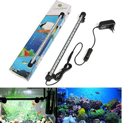 GreenSun LED Lighting 38cm Blau & Weiß Leuchte Aquarium Beleuchtung 21x 5050SMD Lampe wasserfest Unterwasserlicht langsames Aufleuchten Deko für Aquarium Fische Tank