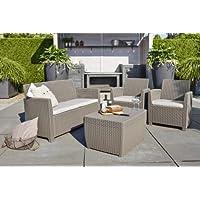 Corona set giardino ALLIBERT con tavolino storage porta cuscino sabbia