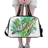 Yushg Oceano Sottomarino Sea Life Animal Green Turtle Grande Yoga Palestra Totes Fitness Borse Viaggi Duffel Bags con Tracolla Shoe Pouch per l'esercizio Sport Bagagli per Le Ragazze Mens Womens
