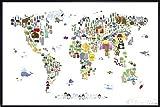 Animal Map Of The World Poster Michael Tompsett Weltkarte (62x93 cm) gerahmt in: Rahmen schwarz