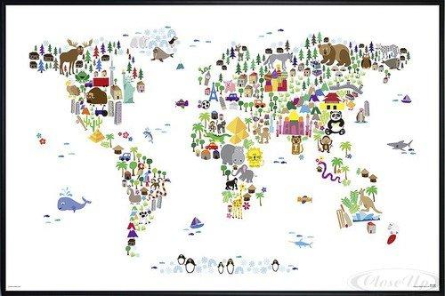 Animal Map Of The World Poster Michael Tompsett Weltkarte (62x93 cm) gerahmt in: Rahmen - Weltkarte Michael Tompsett