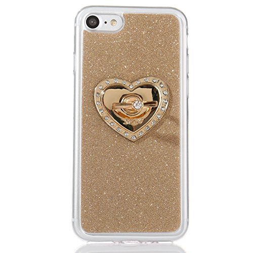 iPhone 7 Bling Coque,iPhone 7 Case,iPhone 7 Etui - Felfy Ultra Mince Silicone Gel TPU Housse Bling Shiny Sparkle Glitter étoile Placage Coque Housse de Protection Etui Anti Scratch Case Cover Case Bum Or Ring