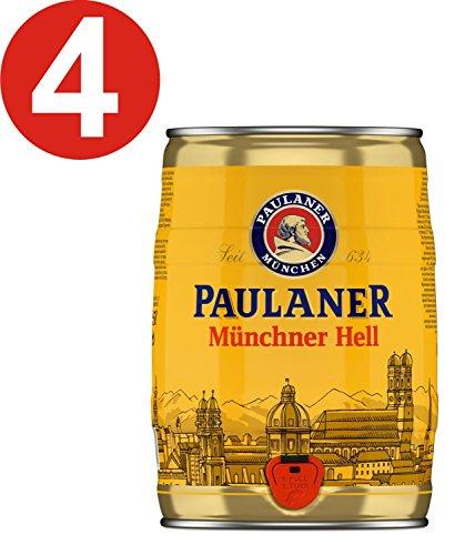 4 x Paulaner Münchner Hell 5 Liter 4,9% vol Partyfass -