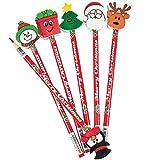 6 x Bleistift Nikolaus Weihnachtsmann Radierer Weihnachten Adventskalender Adventskalenderfüllung Füllung X-Mas Basteln Überraschung Radiergummi