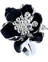 Anillo personalizado negro floral de diamantes