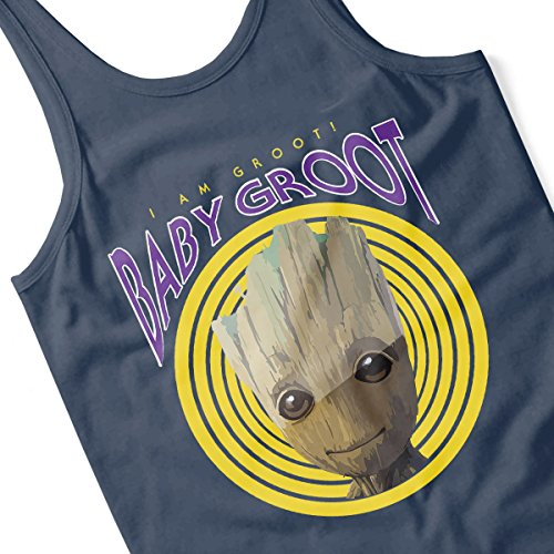 Guardians Of The Galaxy Baby Groot I Am Retro Groot Women's Vest Navy Blue