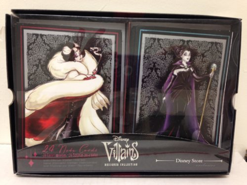 lusive Villains Designer Collection 24 Note Cards with Envelopes Featuring Maleficent, Cruella De Vil, Evil Queen, Ursula, Mother Gothel, and the Queen of Hearts by Disney (Queen Of Hearts Von Disney)
