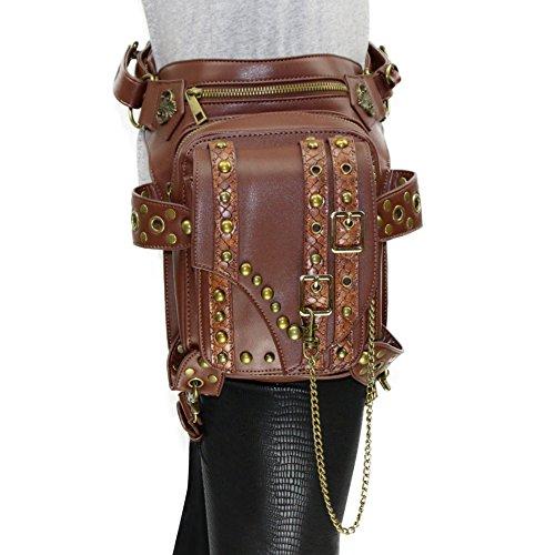 Prom Star Vintage Borsa a tracolla borsa a spalla in pelle steampunk Punk donne vita gamba in confezione PE Portafogli Frecce tasche nero cannella