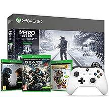 Xbox One X - Consola 1 TB + Metro Exodus Collection + Microsoft - Xbox Wireless Controller Gamepad, Blanco (PC, Xbox One S)