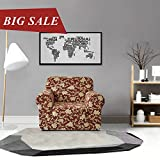 CHUN YI Printed Sofa Covers 1-Piece Polyester Spandex Fabric Stretch Slipcovers (Chair, Coffee Flower)