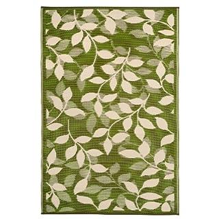 Fab Hab - Bali - Waldgrün & Creme - Teppich/ Matte für den Innen- und Außenbereich (180 cm x 270 cm)